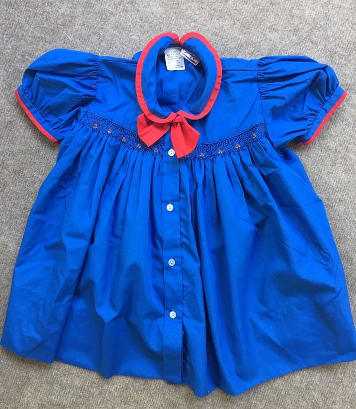 Girls Petit Ami Smocked Dress Blue Red size 4T Twirl Skirt  #PetitAmi