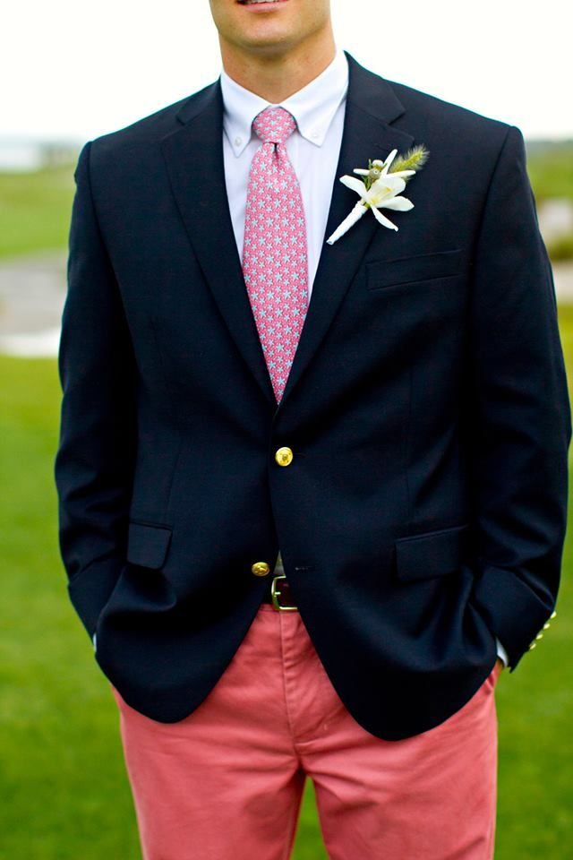 Wedding Groom Attire. Vineyard Vines. Nautical. Vineyard Vines Wedding. Groom Coral Pants Navy Blazer Starfish Boutonniere, Sperrys. Starfish Vineyard Vines Tie