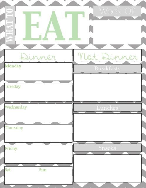 Meal Planning Chart with Free Printable