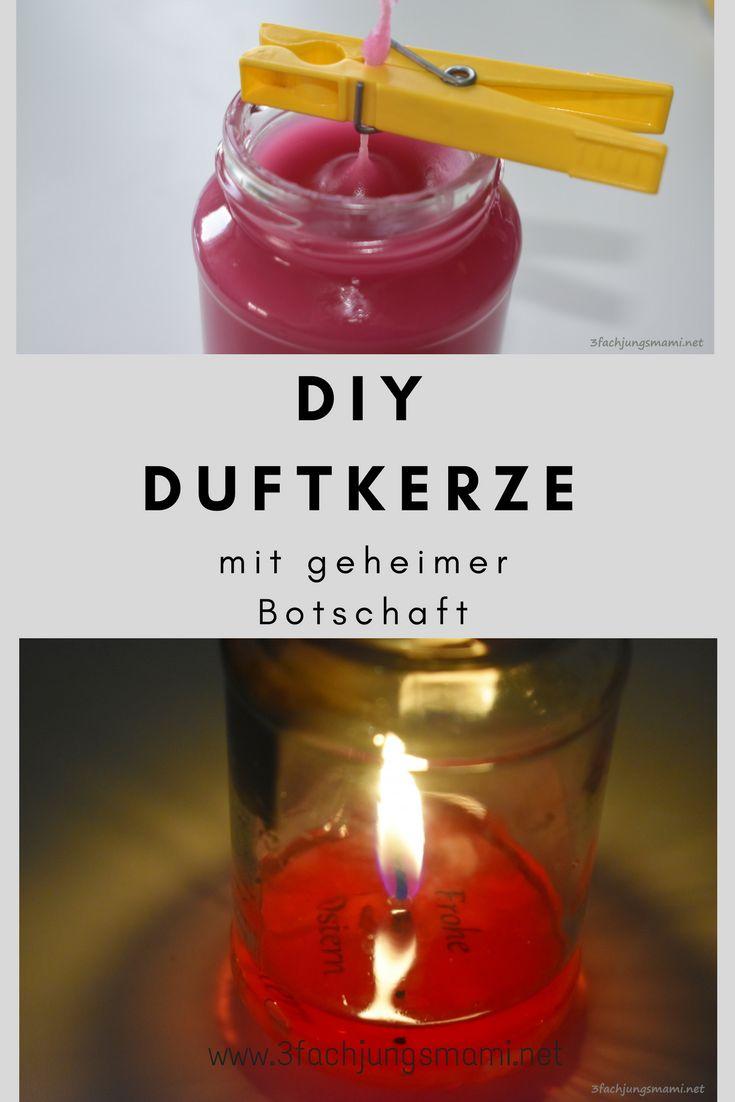 DIY Anleitung für eine selbstgemachte Duftkerze mit versteckter Botschaft #diy #kerze #geschenke