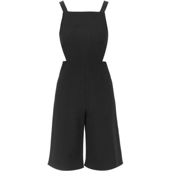 TOPSHOP PETITE Cut-Out Playsuit ($75) ❤ liked on Polyvore featuring jumpsuits, rompers, topshop, black, petite, playsuit romper, black romper, black cut out romper, cut out romper and topshop romper