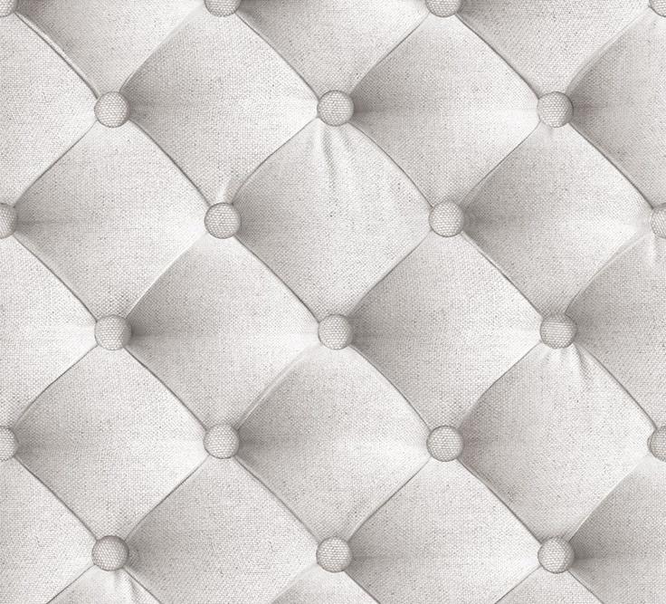 Papier Peint Large Capitons en Tissu Blanc Grisé - Koziel