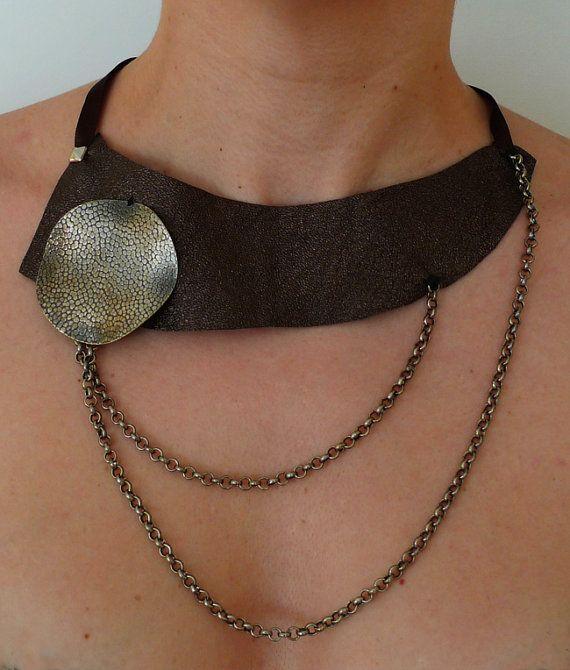 Encadenados  Dark brown leather necklace by ojuilla on Etsy,