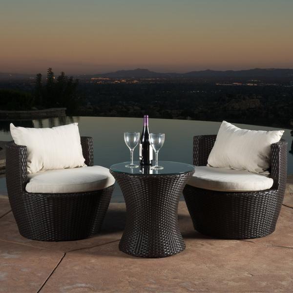 Conversation Set Patio, 3 Piece Wicker Patio Conversation Set With Beige Cushions