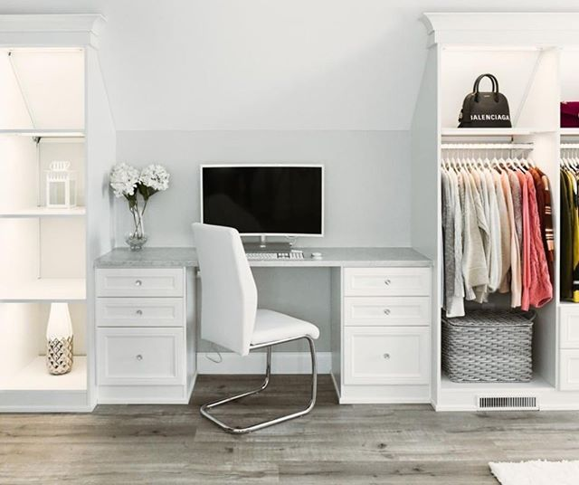 When You Re A Fashion Vlogger Having A Workspace In Your Walk In Closet Is A Dream Come True Custom Office Furniture Custom Closet Design California Closets