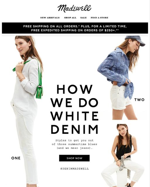 "SUB: ""There's nothing scary about white jeans. We promise."" Una newsletter ironica e carina, perfetta per l'estate :-)"