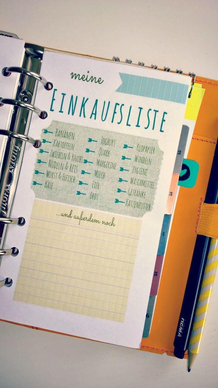 Meine selbst gestaltete Einkaufsliste / Filofax Personal Shopping List / Freebie / Free / Printable