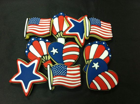 4th of July Cookies, Independence Day Cookies, Patriotic Cookie Favors, American Flag…