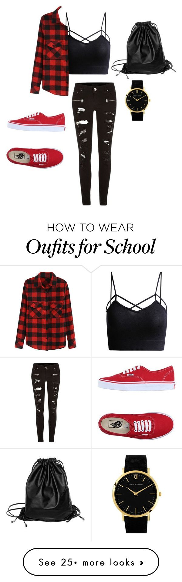"""""""School style """" by mishexxx on Polyvore featuring River Island, Vans, Xenab Lone and Larsson & Jennings"""