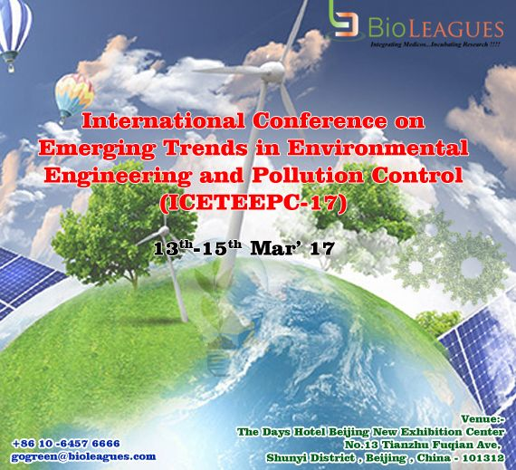 """Come and join us for an exciting #Environmental_engineering at Beijing, China on March 13th-15th, 2017 Venue: """"The Days Hotel Beijing New Exhibition Center No.13 Tianzhu Fuqian Ave,  Shunyi District, Beijing, China - 101312 Contact: +86(10)-6457 6666 For more details kindly visit us @https://goo.gl/sVZ7QW"""