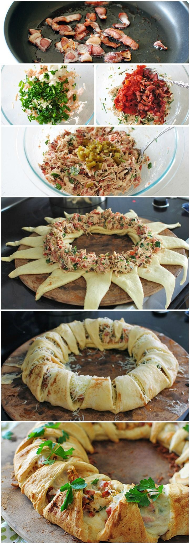 Chicken Club Crescent Ring... use leftover rotisserie chicken instead of canned, skip both the garlic & jalapenos and use mild cheddar instead of mozzarella.