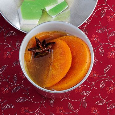Kakis in Vanillesirup Rezept | Küchengötter