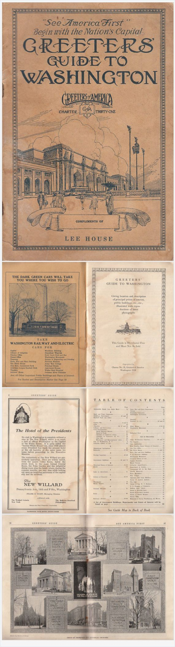 Vintage Greeters Guide to Washington DC with Pull-Out Map 1924 Local Ads Illustrated