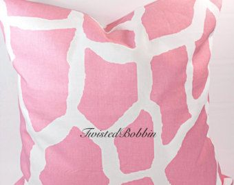 Pink Pillow cover . Giraffe. Baby Pink and white pillow cover.18x18.Designer pillow. Pink cushion cover