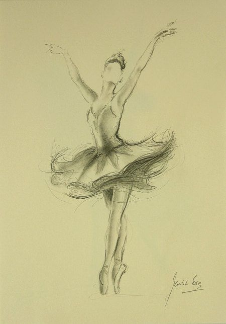 ORIGINAL pencil drawing 11 x 8 1/4 of BALLERINA by by EwaGawlik  love the sketchy textures