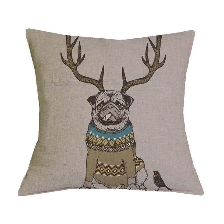4 - Bull Dog Antlers Pillow Case