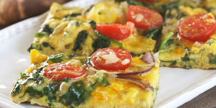 Frittata med tomat og spinat