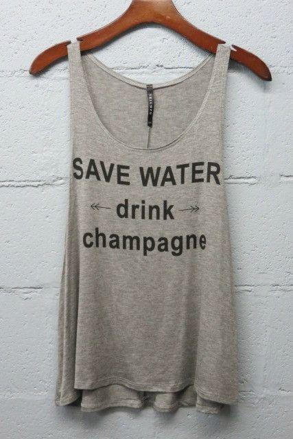 SAVE WATER DRINK CHAMPAGNE Tank Top  - Shop Simply Me Boutique, Naples, FL - www.SHOPSIMPLYME.com