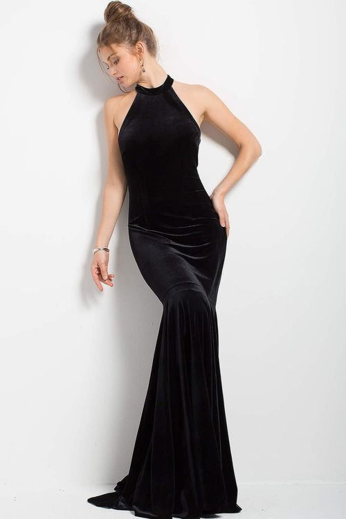 809c65920c Jovani - 51680 High Halter Velvet Mermaid Gown   Long Black Dress (Velvet