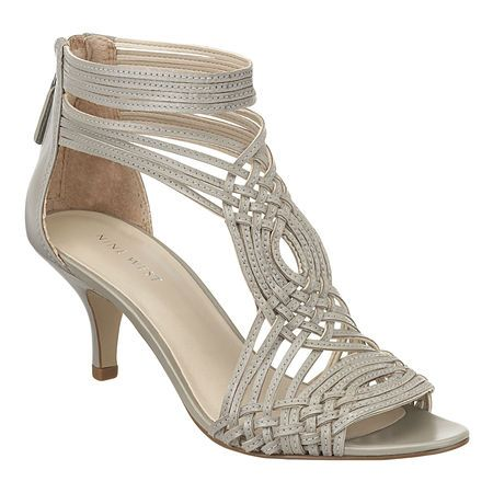 """Strappy caged 2.5"""" sandal with leather upper. Back zipper closure. This style is available exclusively @ Nine West Stores & ninewest.com. $99.00"""