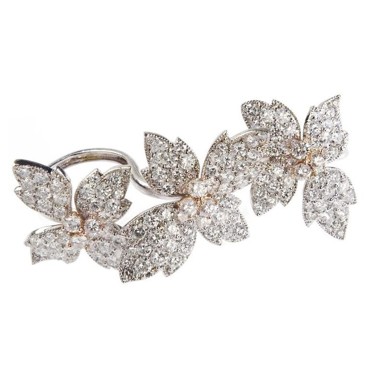 Stambolian Three-Finger Diamond Flower Ring | From a unique collection of vintage cocktail rings at https://www.1stdibs.com/jewelry/rings/cocktail-rings/