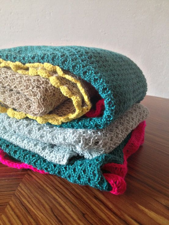Turquoise/neon pink baby blanket by mamamasza on Etsy