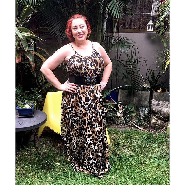 wearing Bohemian Traders leopard maxi dress for Style it Project