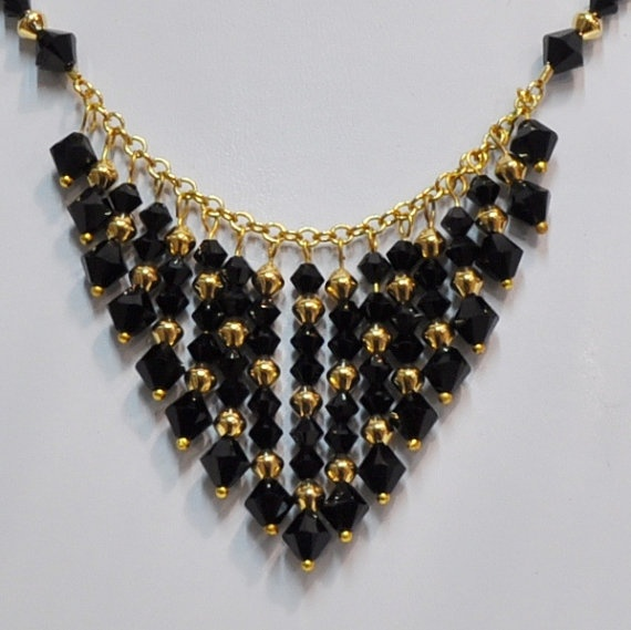 Swarovski Black and Gold Cascading Necklace with 4 & 6 mm beads