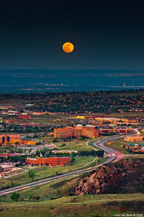 Cool...it's the Jefferson County Courthouse overlooking Golden, CO and Denver. Supermoon, Denver, Colorado