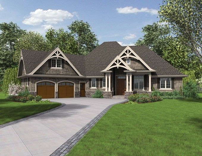 craftsman plan with 2233 square feet and 3 bedrooms from dream home source house plan - Craftsman Ranch Home Exterior