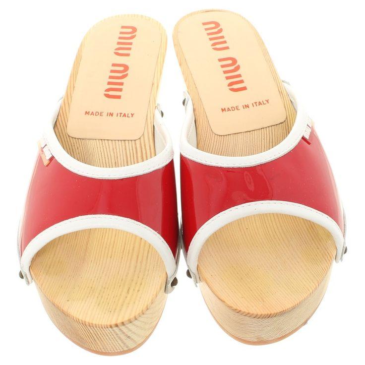 Miu Miu Red clogs with wooden heel