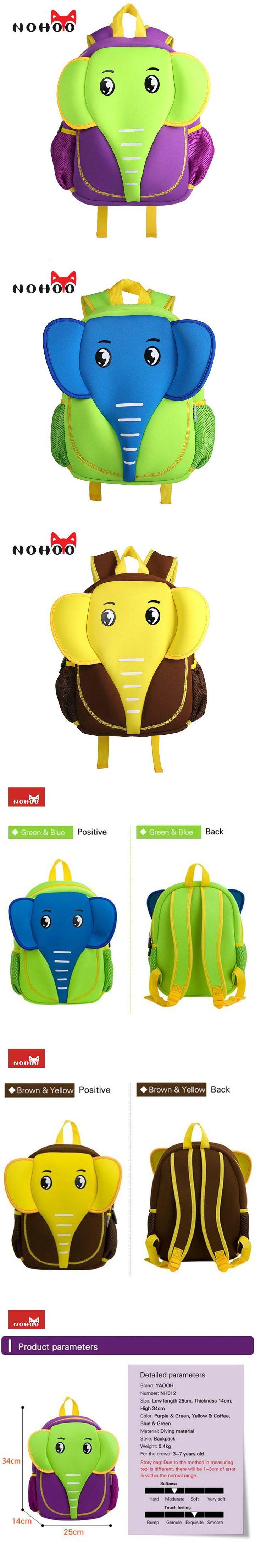 NOHOO 3D School Bag Waterproof Animals Cartoon Backpack Neoprene Kids Baby Bags Children School Bags For Girls Boys