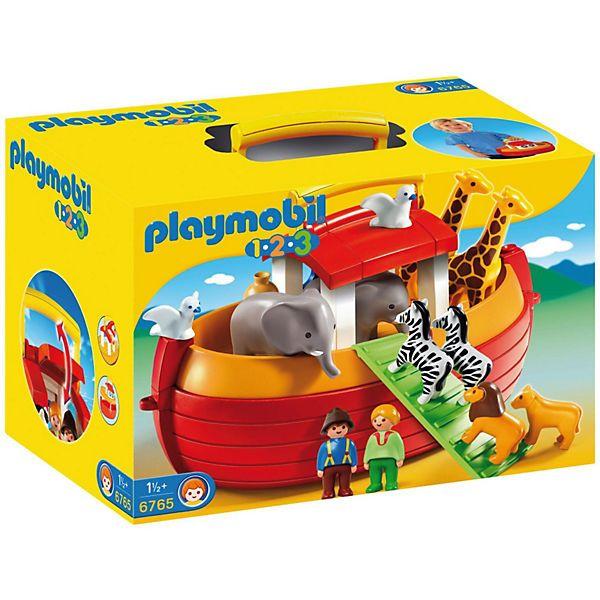 """Das PLAYMOBIL® Spielset """"Meine Mitnehm-Arche Noah"""" (PLAYMOBIL®-Nr. 6765) aus der 1-2-3 Reihe inklusive Spielfiguren. <br /> <br /> Zusammen mit seiner Frau rettet Noah die vielen Tierpaare vor der großen Flut. Denn er weiß: Nur in dem Schiff, der Arche, sind alle geschützt und sicher vor der großen Welle. <br /> <br /> Features:<br /> - Arche schwimmt<br /> - Dach des Häuschens ist zum Spielen aufklappbar<br /..."""
