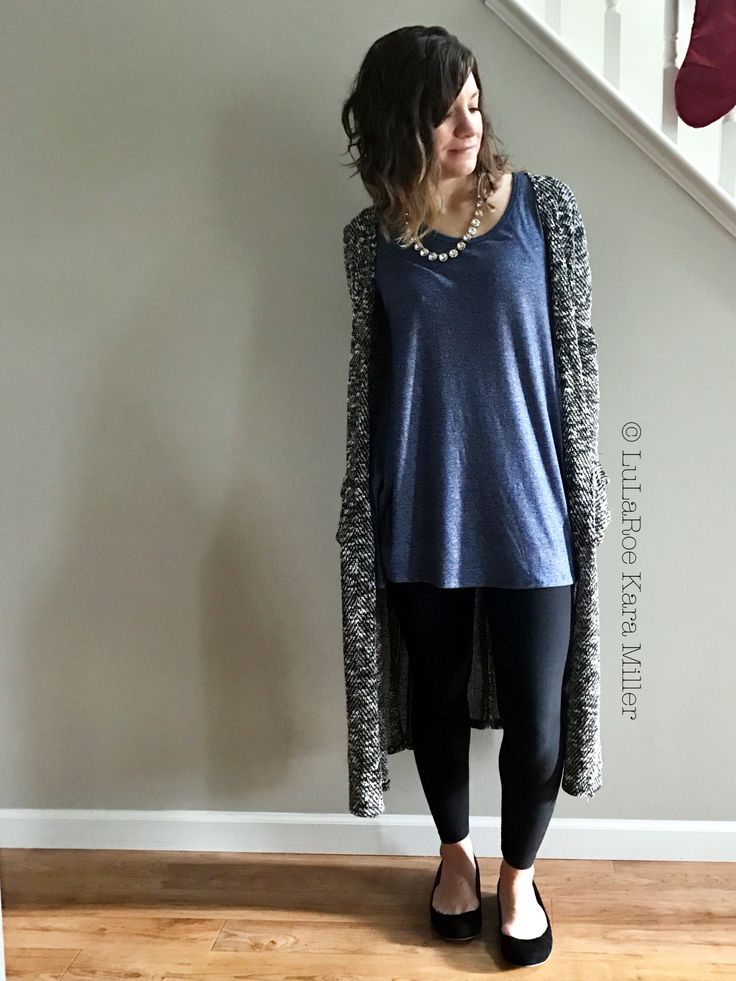 Lularoe Leggings with Perfect tee, Sarah Cardigan, J Crew sparkly necklace and J Crew ballet flats for fashion trends.  Shop here: https://www.facebook.com/groups/LularoeKaraMiller/