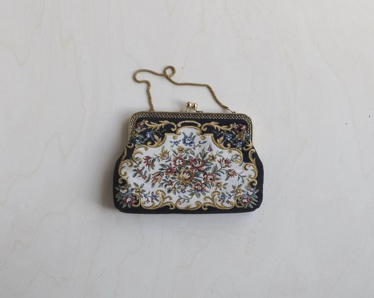 Vintage embroidered floral evening bag by Tomorrownever on Etsy