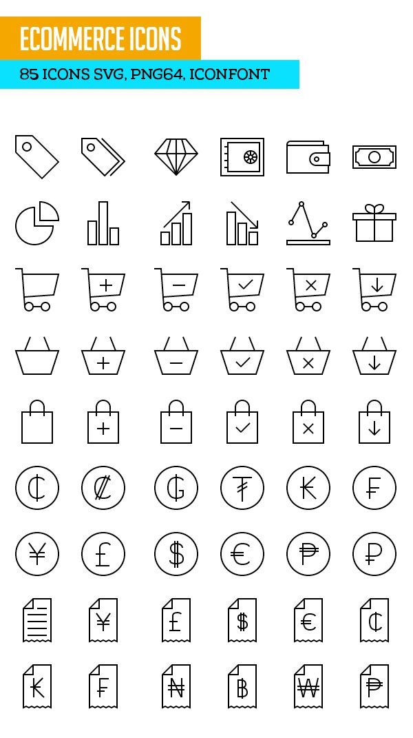 Ecommerce Icons SVG PNG Icon Font #outlineicons #lineicons #freeicons #svg #iconfont
