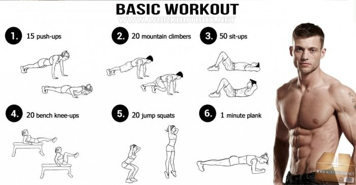 Basic Workout - Fitness Training Healthy Push-Ups Sit-Up Sixpack More