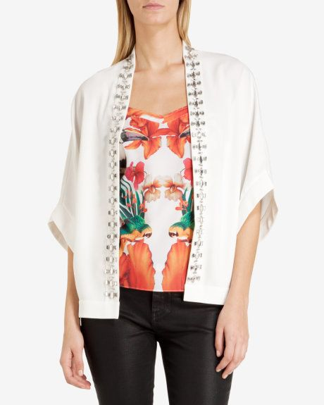 Embroidered kimono - White | Tops & T-shirts | Ted Baker UK www.MadamPaloozaEmporium.com www.facebook.com/MadamPalooza