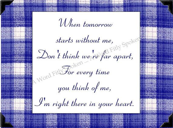 5x5 Fabric Bereavement Poem When Tomorrow by AWordFitlySpoken