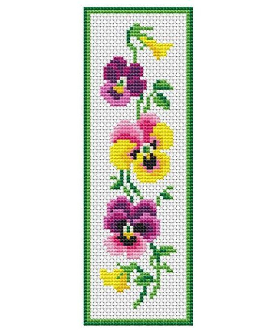 Artículos similares a Pansies Flowers Bookmark Counted Cross Stitch ...