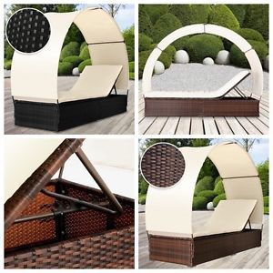 Garden Sun Bed Lounger Rattan Patio Furniture Relax Pool Side Recliner w/Canopy   eBay