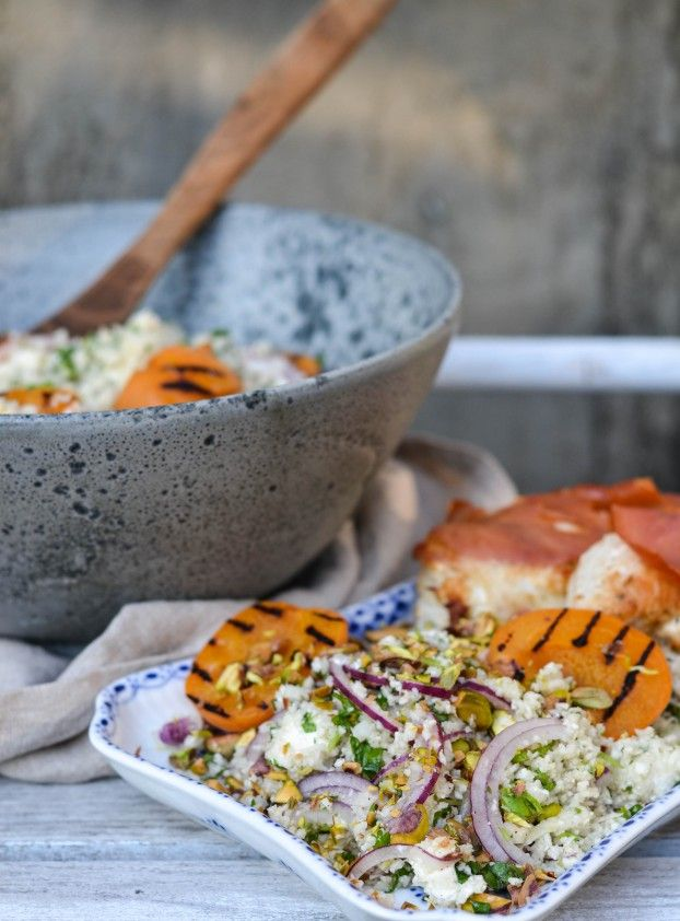 Cauliflower Couscous w. Grilled Apricots and Vanilla-Lemon Dressing served with Serrano wrapped and Feta stuffed Chicken