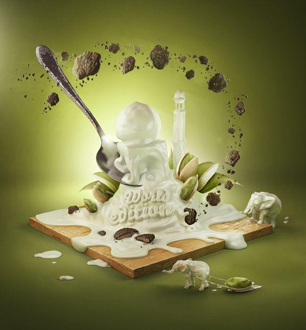Yogurt advertising by Jan Reeh, via Behance - 3D Typography Design Modelling