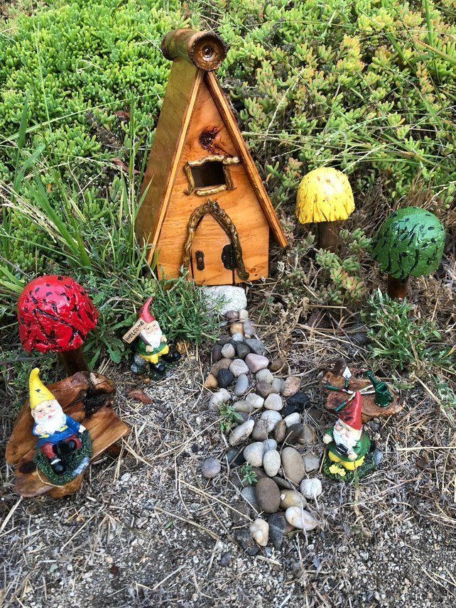 Complete Outdoor Gnome Garden Filled With Mushrooms Gnomes And A Very Special House Fairy Garden Gnomes Gnome Garden Garden Kits