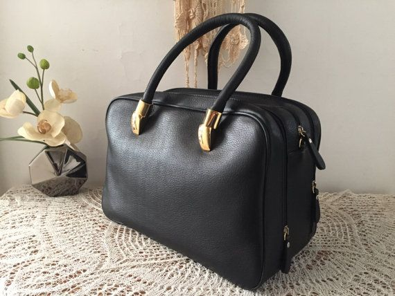 Black leather bag, Women small briefcase, Genuine leather purse, Black leather satchel, Leather tote, Double handles bag, Useful travel bag