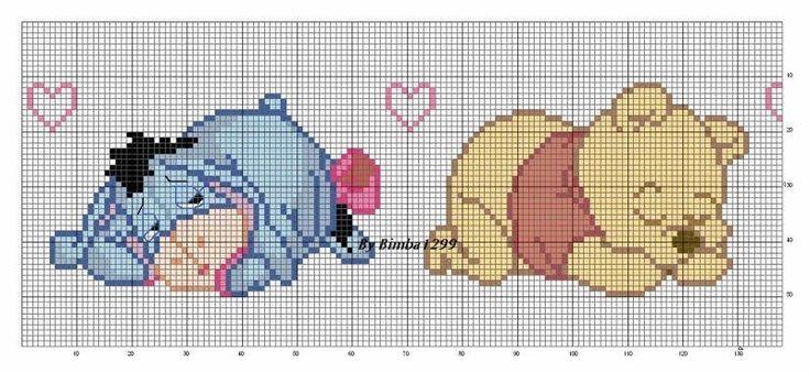 Ursinho poof baby ponto cruz