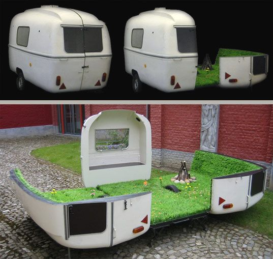 The opposite of glamping? Bringing a green spot into an paved urban area.