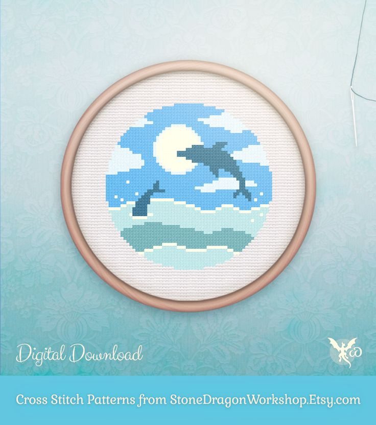 "Looking for a fun new cross stitch project? Get OCEAN DOLPHINS from Stone Dragon Workshop on Etsy! These decorative & modern patterns produce pretty finished stitches & fit perfectly in a 6"" hoop on 14 ct aida. Each pattern is designed using a small, but effective DMC floss colour palette, making them fun & easy to stitch - perfect for seasoned stitchers & beginners alike!"
