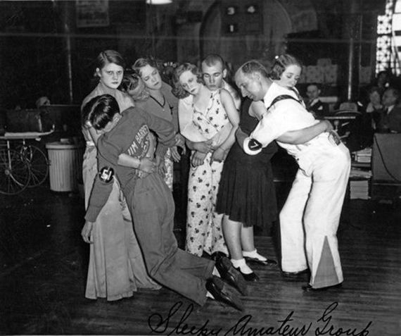 Contestants in a 1930's dance marathon having the time of their lives.