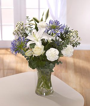Sea Breeze - white lily and agapanthus bouquet - order flowers online